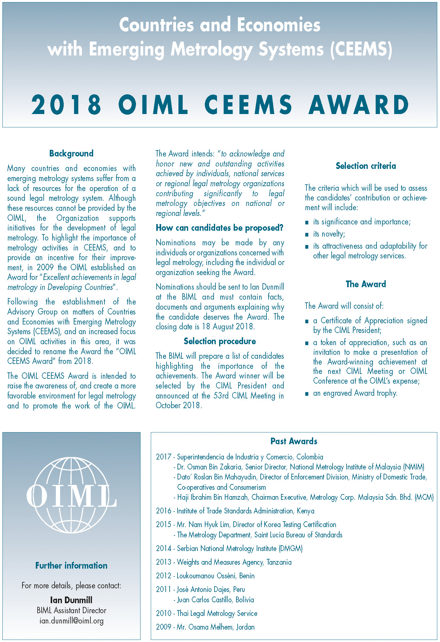oiml ceems award announcement 2018